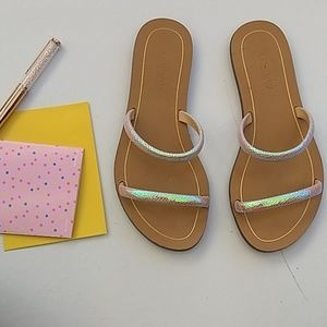 EUC holographic J. CREW sandals
